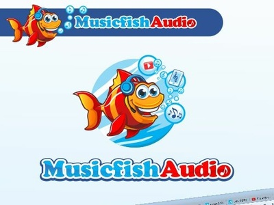 Musicfishaudio mp3 website cute branding vector icon design cartoon logo illustration mascot character music fish mascot