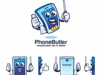 Phonebuttler Mascot Design