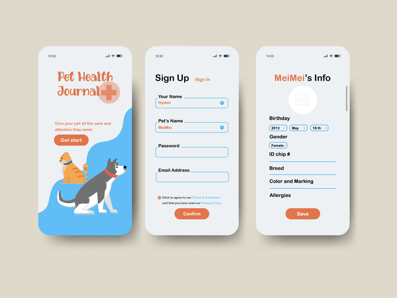 Pet Health Journal app interface journal health app healthcare sign up daily ui dailyui 001