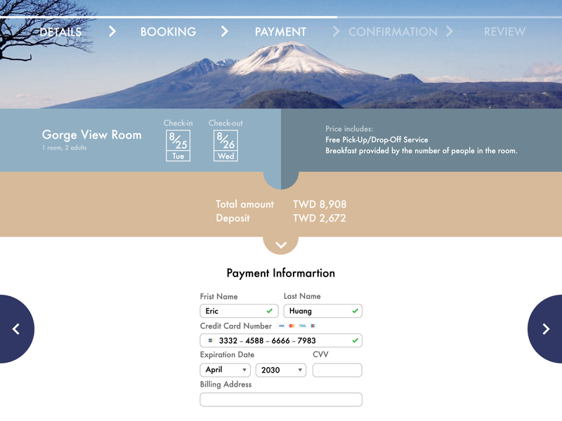 Mt. Fuji Resort Booking mountain fuji booking website travel creditcard credit card checkout payment resort trip soothing japan ui design daily ui 002 daily ui traveling