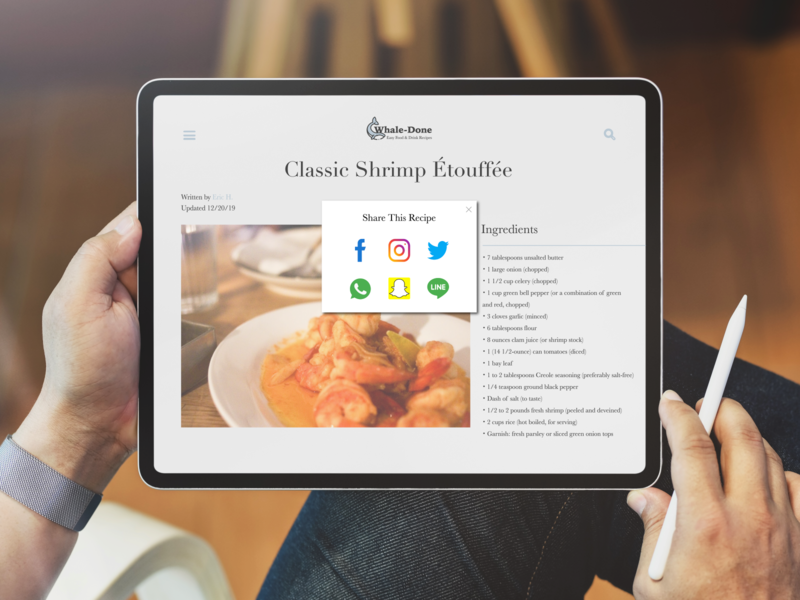 Share Recipes with Loved Ones foodie food and drink food app loved ipad app ipad pro share button share restaurant ipad ux website typography vector app interface daily ui 010 dailyuichallenge design daily ui
