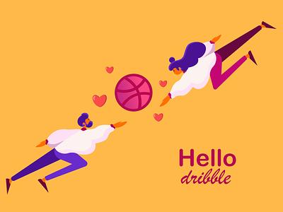 Hello dribble character vector illustration vector hello dribble dribble debut