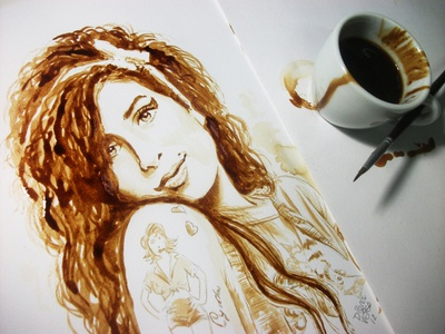 Coffee Art - Coffee Painting Portrait of Amy Winehouse