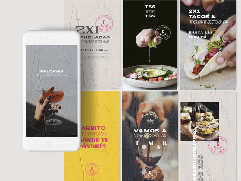 La consentida stories food restaurant drink bar vector instagram socialmedia banner branding design