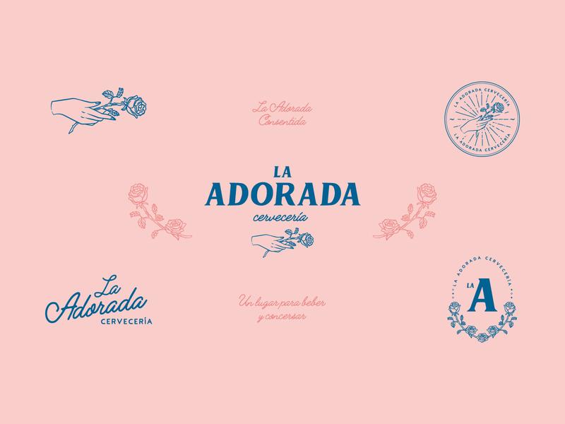 La Adorada Cervecería brand brand identity lettering icon illustration logo vector banner minimal illustrator branding design
