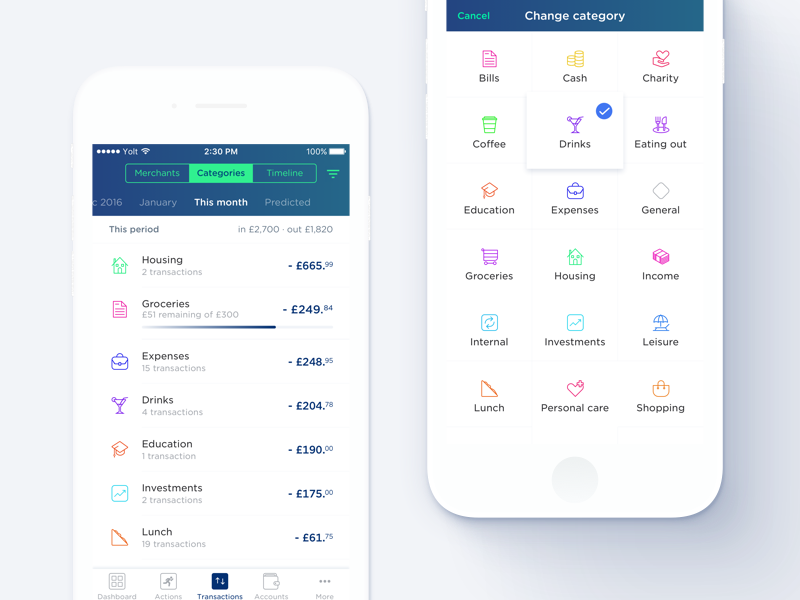 Yolt - More categories 📓 categories icons yolt fintech finance app