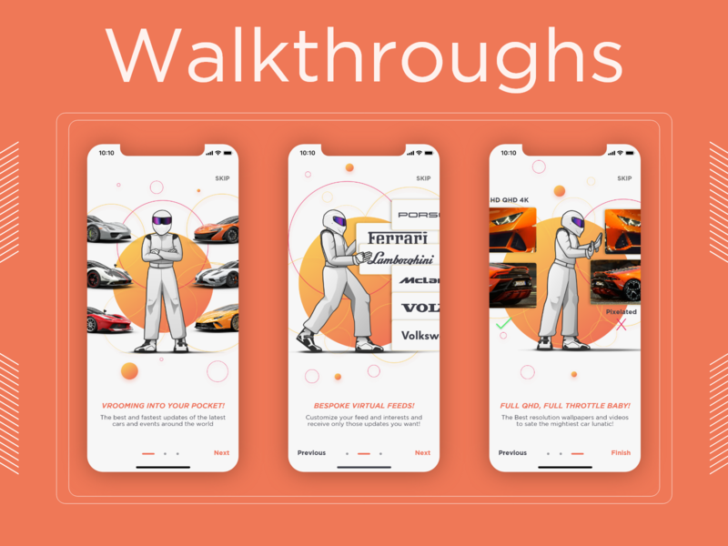 NetCarShow Redesign Concept App Walkthroughs adobe illustrator adobe xd adobexd launch guided tour automotive car walkthrough uiux design uidesign uiux ui ios ios app app ux vector design illustration
