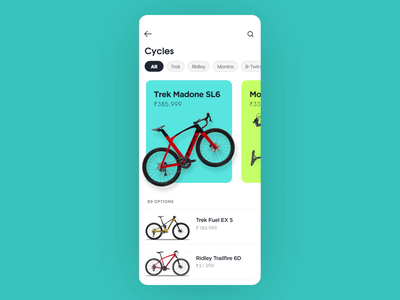 Cycle app Parallax UI screens gif after effects cycles swipe ui  ux uidesign ui design ui motion design motion parallax design app ecommerce animation aftereffects