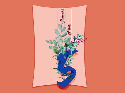 Five flowers flowershop five flowers illustration brandlogo logodesign design