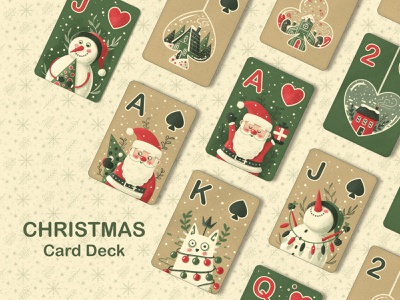 CHRISTMAS - Illustrated Card Deck cute illustration hygge childrens illustration kids book kids art procreate christmas art game design playing card santa claus character design christmas card christmas kids illustration illustration