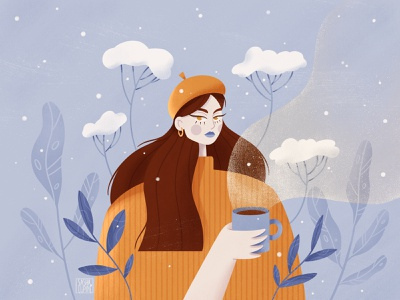 Snowy creative plant coffee winter drawthisinyourstyle female character art characterdesign flat illustration procreate illustration