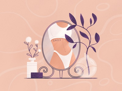 Mirror artwork creative lingerie underwear female character female character flat illustration procreate illustration