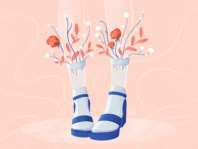 Bouquet flower shop plant flower illustration creative aesthetic bouquet socks design flower socks shoes flat illustration illustration