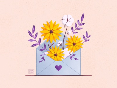 New Message card app design flowers plant flower envelope letter message icon website app creative procreate flat illustration illustration