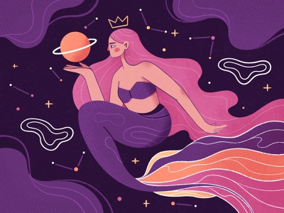 Galactic Mermaid stars planets bodypositive galaxy space purple mermaid feminism female character characterdesign female character flat illustration illustration