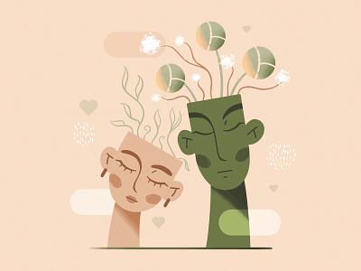 Mutual love vase love character ceramics pot eco plant characterdesign creative procreate flat illustration illustration
