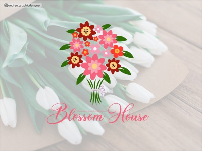 Blossom House blossom bouquet flowershop flowers logodesign logo branding logodesigner brandidentity vector illustration graphicdesigner freelancer design