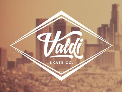 Valdi Skate Co. Logo logo branding identity retro skate skateboard script