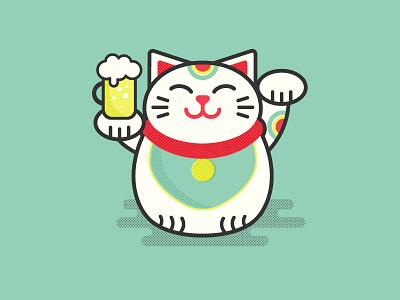 Lucky Cat lucky cat illustration flat cat