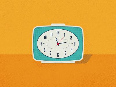 Retro Clock texture illustration flat clock retro