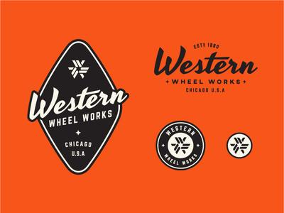 Bike Co. Logo Set orange icon bold bicycle retro badge logo