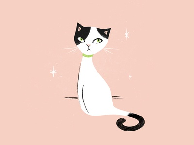 Judging You Softly character illustration retro vintage texture kitty cat