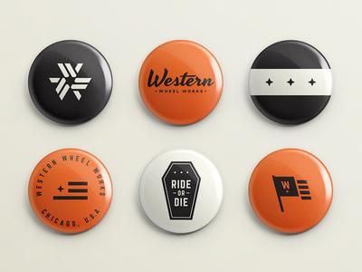 Pushing Buttons monogram retro pin orange logo button brand badge