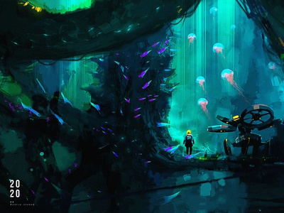 Bioluminescent creature cg design illustration creative art game art creative image painting concept art