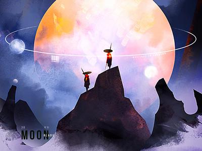 Moon blade design character illustration creative art game art creative image cg painting concept art