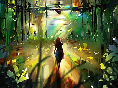 Elaborate greenhouse illustration creative art game art cg painting concept art