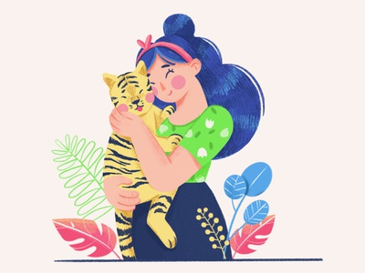 A lady with a tiger cub 💛 sunday 2d character drawing digitalart dtiys characterdesign illustration