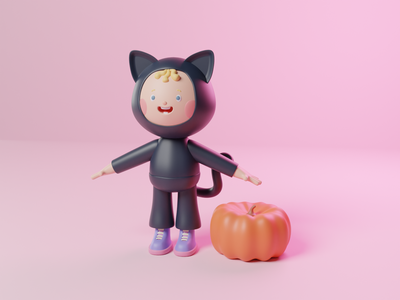 Cat baby design art illustration digitalart 3d art pumpkin 3dcharacter characterdesign halloween