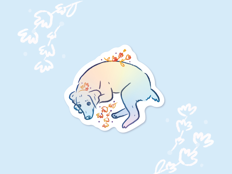 Holographic Doggo illustration blue puppy cute holographic floral dog