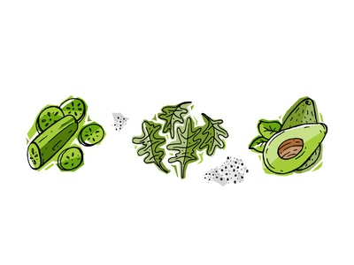Recipe illustrations 1 arugula cucumber avocado green veggies illustration