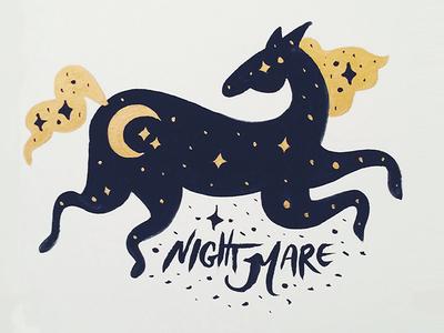 Night Mare stars moon dreams night mare horse pun