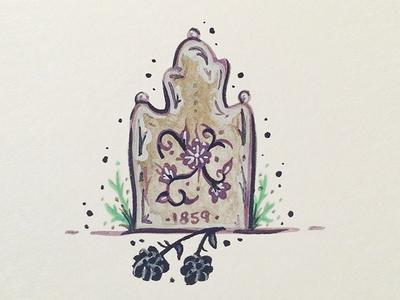 Grave Adventures flowers grave gouache painting