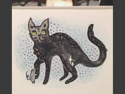 Goofy Spooky illustration gouache mouse cat black halloween