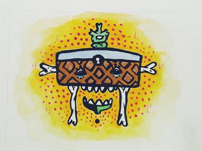 Freaky Furniture. gold yellow gouache bones chair illustration