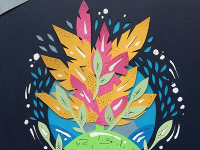 Summertime paper cutout water palm summer cutout paper