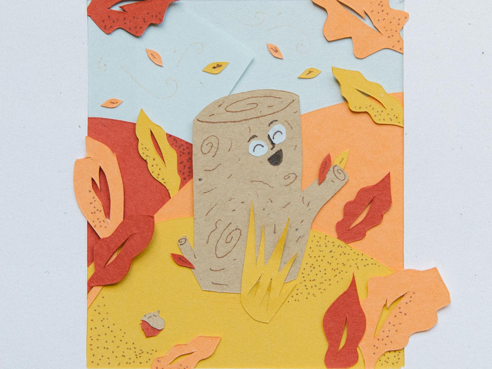 Sept. Paper Cut stump leaves fall tree paper cut paper