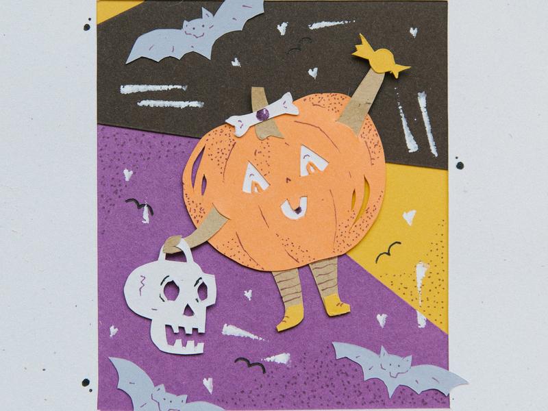 October Paper Cut bats october skeleton pumpkin papercut