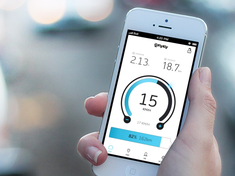 Electric bike dashboard ui electric bike dashboard speed battery blue black clean gui app ios iphone duration
