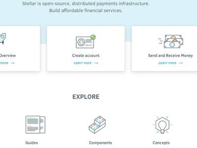 Stellar Developers developers features page services fintech finance icons design web website
