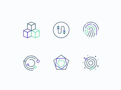 Icons fintech crypto transaction provenance security network internet digital fintech blockchain icons