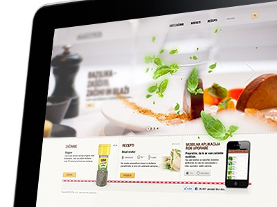 Header with flying spices website web ui cooking