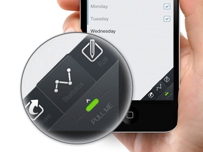 iOS menu version 2 menu ios iphone gestures ui helvetica pull statistics icon clean dark