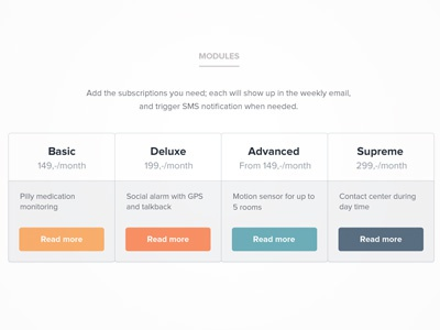 Playful pricing table price pricing table simple clean color orange blue design ui white interface plan module health