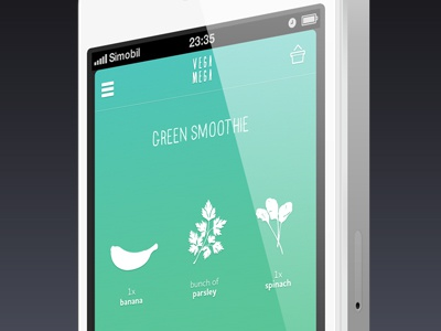 Vegamega mobile application mobile app ios iphone green illustration recipe recipes food healthy