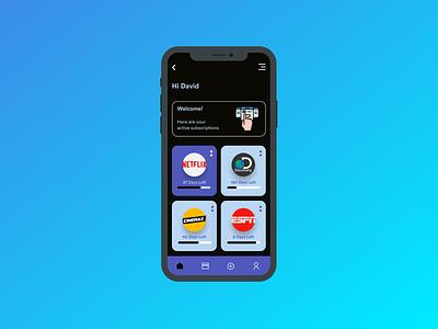 Subscription Tracking App UI Concept app design ui