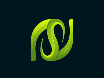 Letter S leaf vector logo illustration